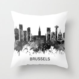 Brussels Belgium Skyline BW Throw Pillow