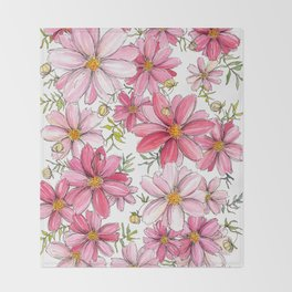 Pink Floral Pattern Throw Blanket
