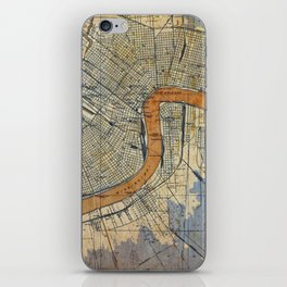 New Orleans Louisiana 1932 vintage map, NO old colorful artwork iPhone Skin