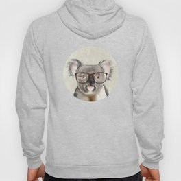 A baby koala with glasses on a rustic background Hoody