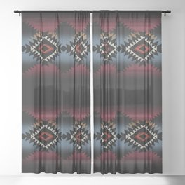 aztec in black number 5 Sheer Curtain