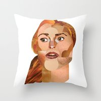 lindsay lohan Throw Pillows featuring Lindsay Lohan  by Rebecca Singer Illustration