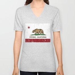 Fresno California Republic Flag Distressed  Unisex V-Neck