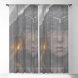 Impressive Pretty Female Warrior Glowing Earring Face Paint Ultra HD Sheer Curtain