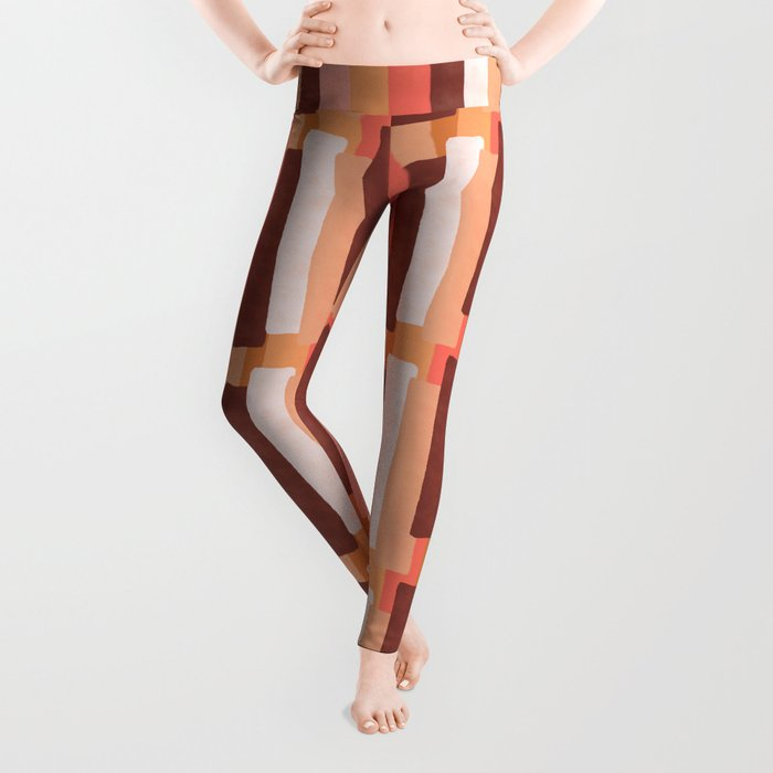 Line In Coral #society6 #abstractart Leggings