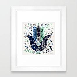 Hamsa Hand – Navy Palette Framed Art Print