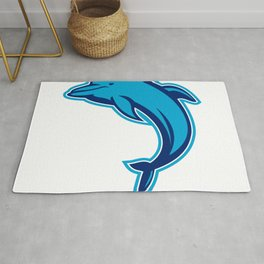 Blue Dolphin Jumping Retro Rug