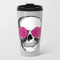 Skull and Roses | Grey and Pink Metal Travel Mug