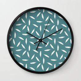 Pillow Fight, White on Teal Wall Clock
