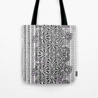 newspaper Tote Bags featuring Newspaper Stripe by Vikki Salmela