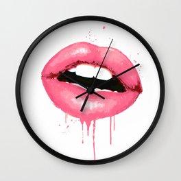 Pink Lips Watercolor Print Fashion Poster Art Lipstick Chic Make Up Wall Clock