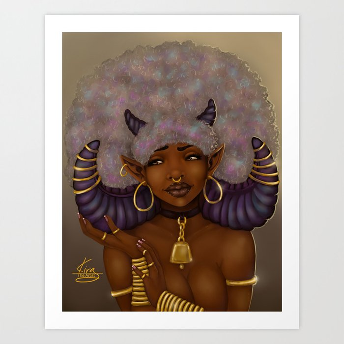 Fro Horns Gold Art Print