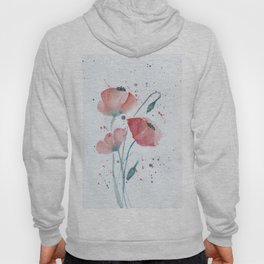 Red poppies in the sun floral watercolor painting Hoody