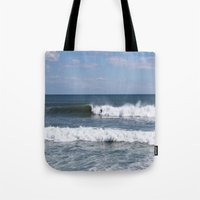 surfer Tote Bags featuring Surfer by moonstarsunnj
