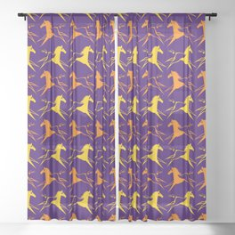 Horse Nation Purple Gold Sheer Curtain