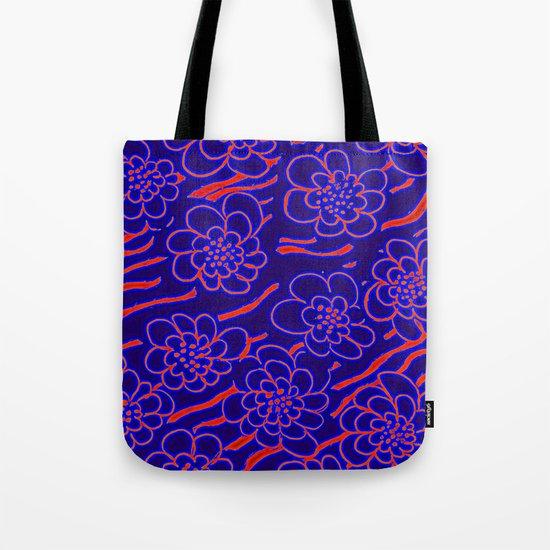 Flowers in blue Tote Bag