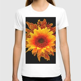 Decor Black & Brown Golden Sunflower Art T-shirt