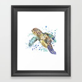 Sea Turtle Pura Vida Watercolor Framed Art Print