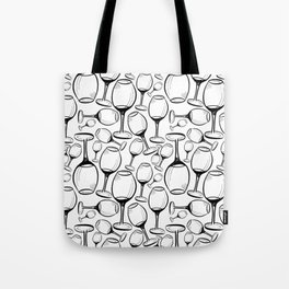 Print with wine glasses. Drawn wine glasses, sketch style. Black on white Tote Bag