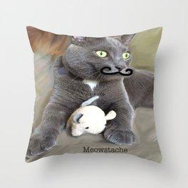 Meowstache Throw Pillow