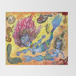 Blue-Finned Mermaids watercolor Throw Blanket