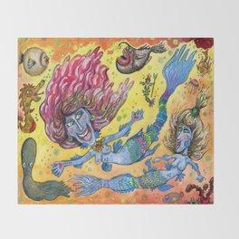 Blue-Finned Mermaids watercolor Throw Blanket