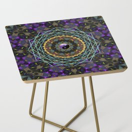 Purple Yin Yang Sacred Geometry Fractals Side Table