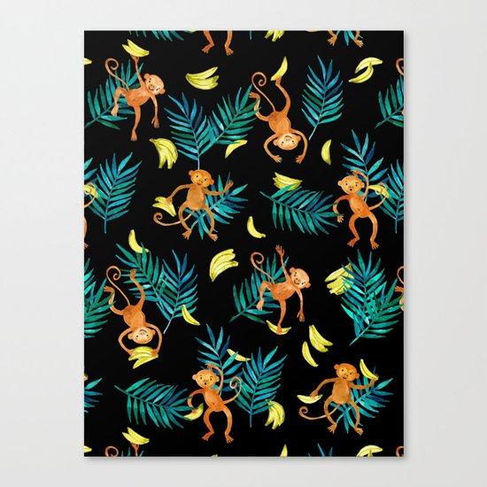 Tropical Monkey Banana Bonanza on Black Canvas Print