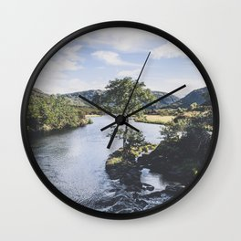 Mountain and river landscape in Killarney, Ireland Wall Clock