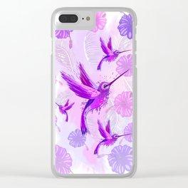 Hummingbird Spirit Purple Watercolor Clear iPhone Case