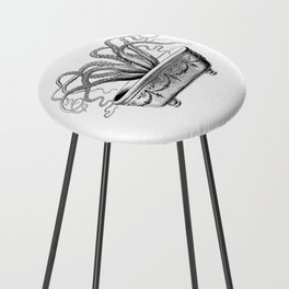 Tentacles in the Tub | Octopus | Black and White Counter Stool