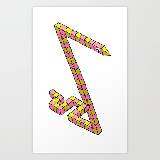 Snake Illusion Art Print