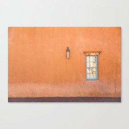 Orange Wall with Turquoise Window- Santa Fe Canvas Print
