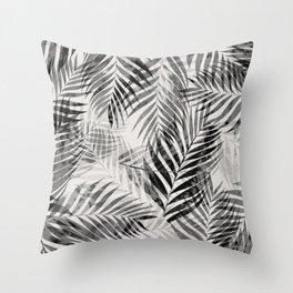 Palm Leaves - Black & White Throw Pillow