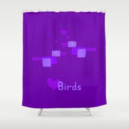 Love Birds-Purple Shower Curtain