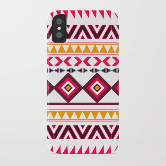Pink Orange Bright Andes Abstract Aztec Pattern iPhone Case