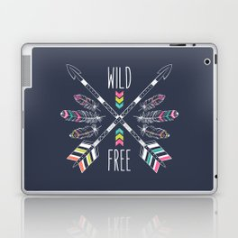 """Ethnic frame made of feathers, threads and beads with text """"Wild and Free"""". Freedom concept. Laptop & iPad Skin"""