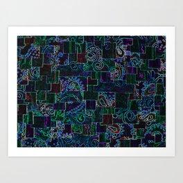 Batik Mosaic Fractal MixBlue Art Print