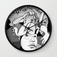 depression Wall Clocks featuring Depression by Benson Koo
