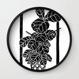 Fiddle Leaf Fig Block Print Wall Clock
