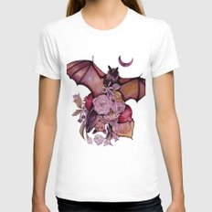Fruit Bats SMALL White Womens Fitted Tee