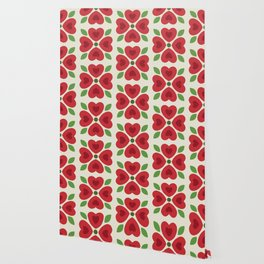 Christmas Heart Flowers Wallpaper