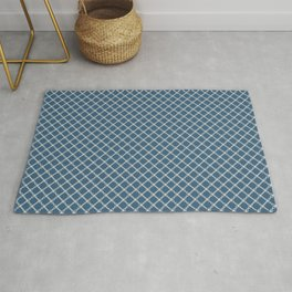 Blue & Linen White Angled Scroll Grid Line Pattern Pairs To 2020 Color of the Year Chinese Porcelain Rug