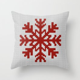 Knitted Christmas decoration red snowflake on white Throw Pillow