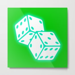 Two game dices neon light design Metal Print