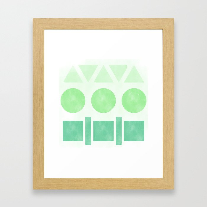 Green Shapes Framed Art Print