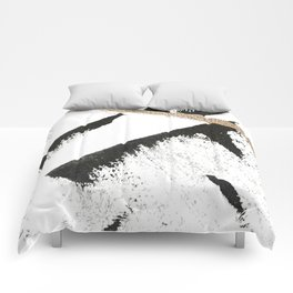 Sassy: a minimal abstract mixed-media piece in black, white, and gold by Alyssa Hamilton Art Comforters