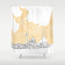 Tallinn Estonia Skyline Map Shower Curtain