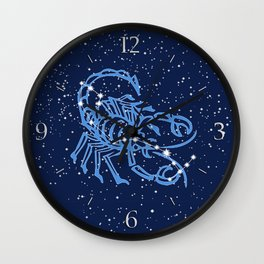 Scorpio Constellation and Zodiac Sign with Stars Wall Clock
