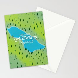 Loweswater Lake District England travel map Stationery Cards